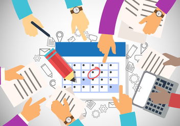 Teamwork Hands With Deadline Time In Office - Free vector #406549