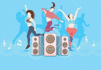 Zumba Dancing With Speaker Vector - Free vector #406939