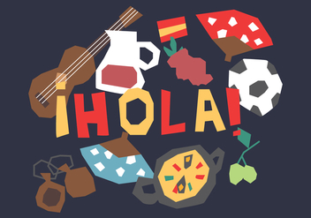 Funny Spanish Elements - vector gratuit #407209