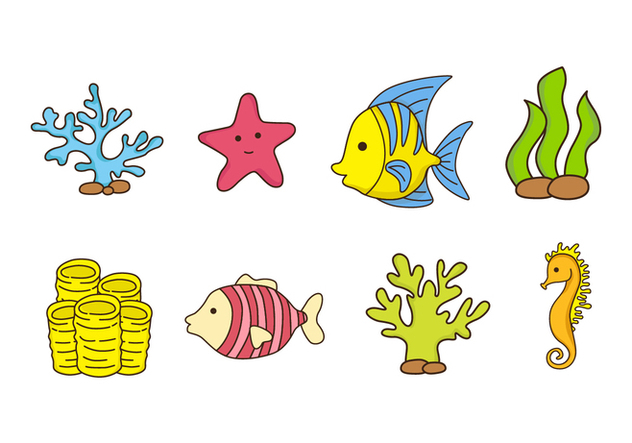 Free Coral Reef and Fish Vector - Free vector #407559