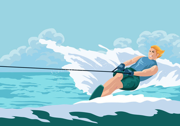 Fun Summer Vacation Riding Water Skiing - Free vector #407709