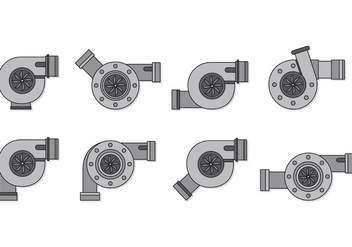 Set Of Turbocharger Vectors - Kostenloses vector #407829