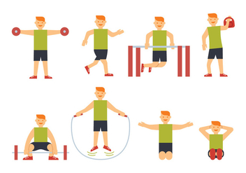 Sportsman training vectors - Free vector #408689
