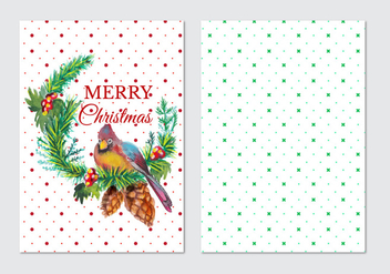 Watercolor Free Vector Christmas Card - Free vector #408779