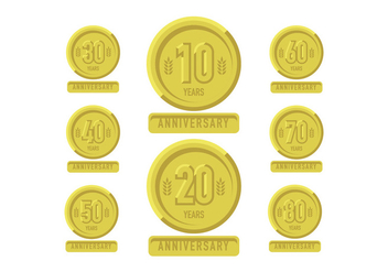 Anniversary gold patch with ribbons - vector gratuit #409549