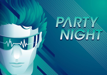 Flatline Party Night Free Vector - vector gratuit #409629