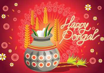 Vector Illustration of Happy Pongal Greeting Background - Free vector #409639
