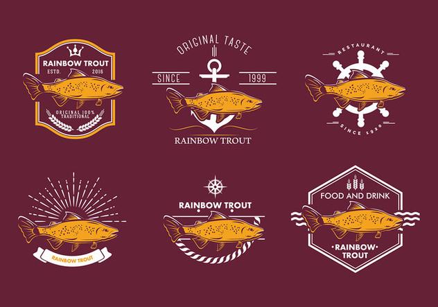 Rainbow Trout Emblem Free Vector - Free vector #410119