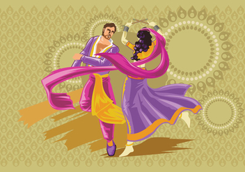 Vector Design of Couple Performing Garba Folk Dance of India - Free vector #410229