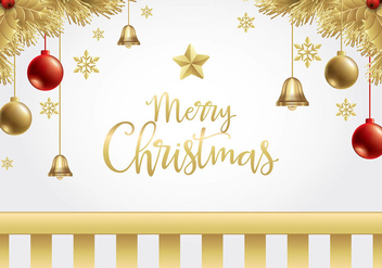 Christmas Gold Background Free Vector - Kostenloses vector #410739