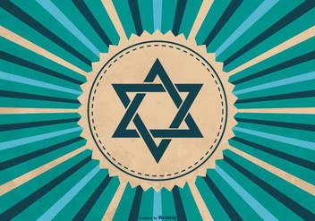 Hanukkah Symbol on Sunburst Background - Free vector #410789