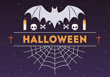 Halloween Spider and Bat Vector Illustration - vector gratuit #411049