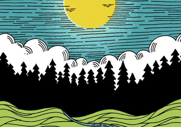 Line Art Night Landscape - Free vector #411089