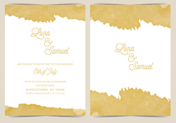 Gold Foil Vector Wedding Invite - Free vector #411119
