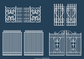 Free White Open Gate Vector Set - Kostenloses vector #411509