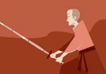 A Boy Practices Kendo Vector - Free vector #411789