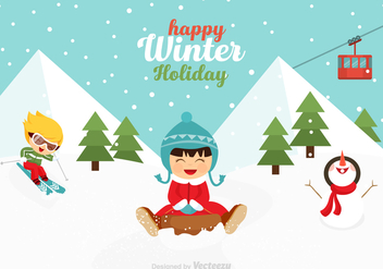 Free Vector Playful Kids In Winter Scene - Kostenloses vector #412149