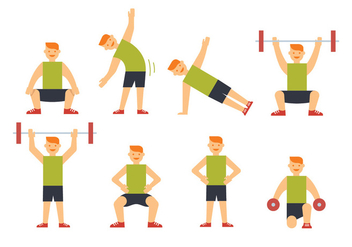 Sportsman training vectors - Free vector #412319