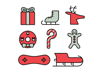 Merry christmas icons set - vector gratuit #412359