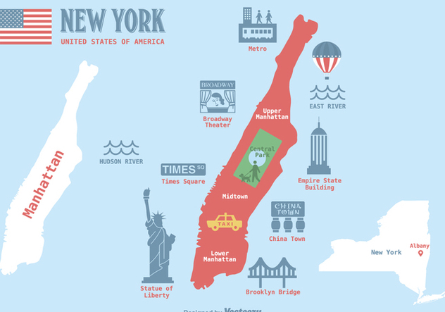 Free Manhattan Map Vector Illustration - Free vector #412499
