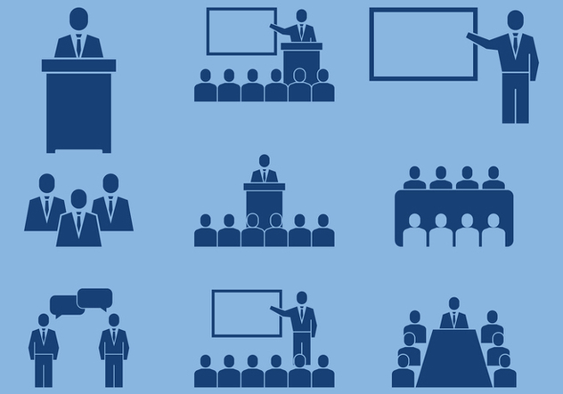 Business Conference Icons - Free vector #413759