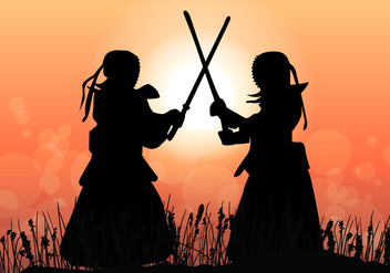 Kendo Master Fight In The Sunset - Free vector #413799