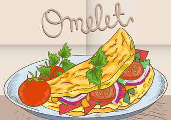 Omelette Vegetable On Plate - vector gratuit #413929