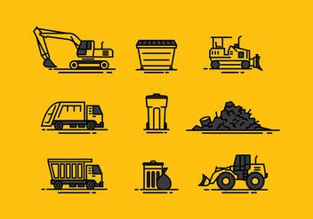 Landfill Icon Line Free Vector - Kostenloses vector #414109