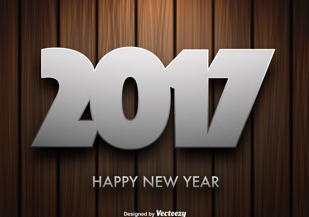 Vector Wooden Background With 2017 New Year Message - Free vector #414679