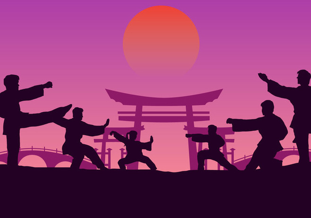 Group Wushu Training - Free vector #414699
