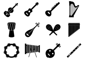 Free silhouette Music Insrument Icons Vector - Kostenloses vector #414819