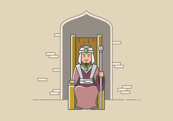 Great Sultan Sits in Throne - Free vector #414859