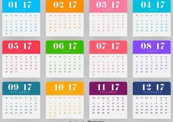 Calendar 2017 Vector Template - Free vector #414929