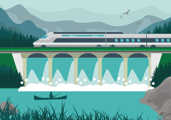 High speed rail TGV city train lanscape ilustration - Free vector #415499