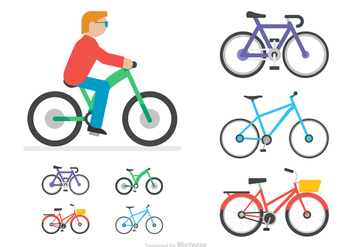 Free Flat Bicycle Vector Icons - Kostenloses vector #415809