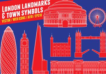London Landmarks & Town Symbols - vector gratuit #416179