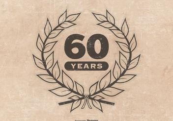 Grunge Style 60th Anniversary Illustration - Free vector #416319