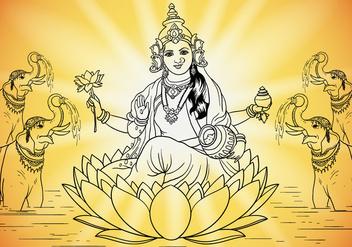 Goddess Lakshmi - Kostenloses vector #416509