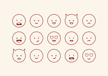 Vector Cute Emoticons Set - Free vector #416579