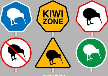 Kiwi Bird Vector Signs - Free vector #416889