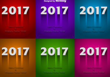 Set Of Colorful Backgrounds For 2017 New Year Celebration - vector gratuit #417029
