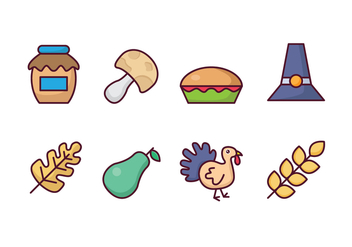 Thanksgiving Cartoon Icons - Free vector #417419