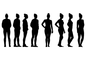 Woman with Bun Siluetas Vector - Free vector #417649