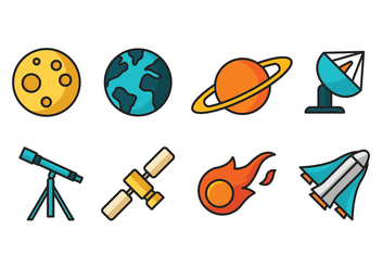Space Cartoon Icons - Free vector #417819