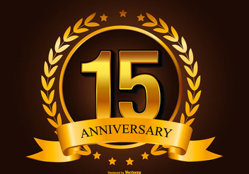 Golden 15th Anniversary Illustration - Free vector #418059