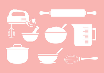 Mixing Bowl Icon Set Silhouette - Free vector #418309