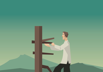 A Man Practicing Wing Chun With a Wooden Dummy Vector - Free vector #418359