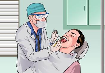 Dentista Examining a Patient - Free vector #418509