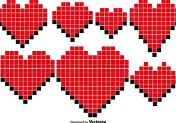 Vector Pixel Hearts - Free vector #419099