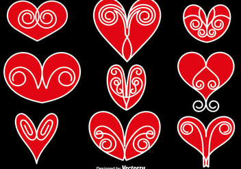 Vector Collection Of Abstract Hearts - vector gratuit #419169